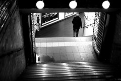 The last step (pascalcolin1) Tags: paris homme man métro subway marches steps lumière light ombres shade photoderue streetview urbanarte noiretblanc blackandwhite photopascalcolin 50mm canon50mm canon