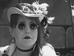 Dark Shades (clarkcg photography) Tags: blackandwhite bw blackwhite woman renaissance shades hat choker