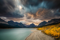 Fire in the Sky (PIERRE LECLERC PHOTO) Tags: glaciernationalpark montana usa autumn landscape nature rockies rockymountains mountains lake lakesherburne shore shoreline travel places sky clouds smoke wildfire sunset longexposure outdoors adventure weather pierreleclercphotography explore