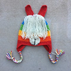 A rainbow inspired crochet llama hat with ends woven in and ready for adventure (crochetbug13) Tags: crochet crocheted crocheting crochethat crochetbeanie crochetcap wintercrochetcrochetrainbowhat wearablecrochet crochetvikinghat crochetswatch