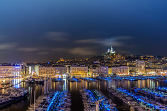 Le vieux Port, Marseille (crispin52) Tags: france marseille harbourold boats night nikon christianespinnewyn bluelight boot haven yacht notredamedelagarde