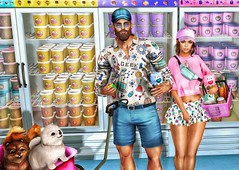 [ 📷 - 175 ] (insociable.sl) Tags: rainbow cap snapback colorful oldschool blue pink colors food market shopping shop supermarket icecream companion animal dog puppy woman girl female male man boy love couple bae girlfriend edit sl secondlife