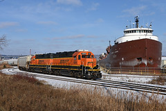 The erstwhile NP 246's whereabouts... (CN Southwell) Tags: bnsf boat superior wisconsin winter snow geeps laker lake freighter 2019 herbert c jackson