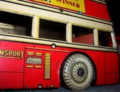 Betal Toys London transport Q2 close up. (Ledlon89) Tags: bus buses transport london betal tinplate britishtoys oldtoys londonbus londonbuses londontransport antiquetoys aec qtypebus q aecbus lptb lt lte