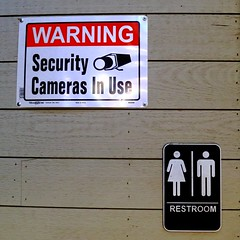 Even There?!!! (Viejito) Tags: warning security cameras hillman restrooms mensroom ladiesroom toilet wc lavatory inodoro baño loo leithreas komuna nhàvệsinh שירותים 廁 مرحاض thecreamery marketplace withco coffee 500x500 square sanluisobispo california slo usa unitedstates geotagged geo:lat=35278174 geo:lon=120666576 amerika amérique américa america canon powershot s100 canons100 sanluisobispocreek creek nipomostreet higuerastreet men women ladies sign wood planks lumber plastic privacy surveillance privaat google facebook comscore twitter yandex doubleclick adsense cliqz