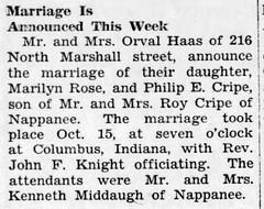 1949 - Marilyn Haas marries Philip Cripe - Enquirer - 15 Dec 1949