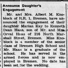 1960 - Marian Knoblock marries Ken Haas - Enquirer - 28 Apr 1960