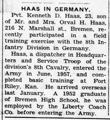 1958 - Ken Haas serves in Germany - Enquirer - 20 Mar 1958