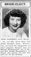 1948 - Marjery Haas marries Ed Baumgartner - South Bend Tribune - 25 Jan 1948