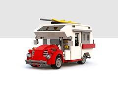 beetle camper red (barneysharman) Tags: vw beetle minihome 1300 camper lego moc splitscreen bug dub campervan bus