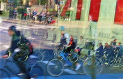 Bicycle Commuters, Copenhagen, Denmark (moonjazz) Tags: copenhagen denmark transportation people bicycles communing travel fitness art reflection zoom fast culture photography color