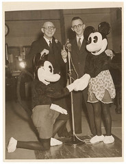 Walt Disney Minnie and Mickey Mouse, movie promotion, Sydney, ca. 1930, Sam Hood (State Library of New South Wales collection) Tags: walt disney mickey minnie mouse film promotions sydney microphones 1930s ca1930 movie cartoon characters