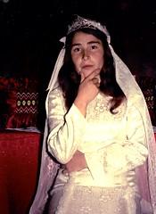 Meliha trying on wedding gown, 1976 (ali eminov) Tags: polyanovo bulgaria dresses gowns weddinggown women meliha