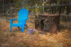 Orange, Rust, and Blue (HFF) (buffdawgus) Tags: autumn primelens nevadacity sierranevadafoothills cementhillroad myhouse rust topazstudio pineneedles fall canon5dmarkiii california woodburningstove canon50mm18 oakleaves lightroom6 mybackyard cementhillhouse nevadacounty watercan