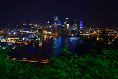 Pittsburgh At Night (JayRose05) Tags: pittsburgh city urban skyline sky water river reflections light lights nikon d5300 longexposure slowshutter bridges bridge