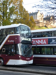 Lothian 483 westbound on Princes Street, Edinburgh. (calderwoodroy) Tags: bus scotland edinburgh princesstreet doubledecker lothian lothian100 lothianbusescentenary lothianbuses edinburghtransport transportforedinburgh 483 service26 sf17vnu volvo wrightbus eclipsegemini b5tl