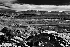 The Road Traveled (Black & White, Arches National Park) (thor_mark ) Tags: alongroadside anseladamslookfromcapturenx2 archesnationalpark archesscenicdrive azimuth126 blackwhite blueskies blueskieswithclouds butte canyonlands capturenx2edited centralcanyonlands colorefexpro coloradoplateau day7 desert desertgrassland desertlandscape desertmountainlandscape desertplantlife desertprairieland desertvegetation highdesert highway intermountainwest junipertrees lasalmountains landscape largebushes layersofrock lookingse mesa nature nikond800e outside partlysunny portfolio project365 road roadsidepulloff roadsidestop rockformations saltvalleyoverlook snowonfaroffmountainpeaks snowcapped sunny trees utahhighdesert utahnationalparks2017 ut unitedstates