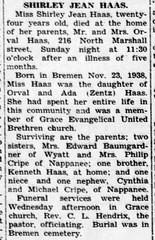 1953 - Shirley Haas obit - Enquirer - 15 Oct 1953