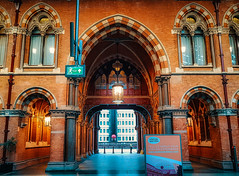 Palatial (Мaistora) Tags: station railway train terminal building architecture historic iconic classic traditional imposing ornament ornamental decorated beautiful arch door gate windows arched light daylight red brick lighting lights floor reflection reflections gothic revival victorian gem masterpiece beauty grandeur glamour functioning working city country gateway hub transport traffic passengers travel travelling london england britain uk stpancras europe line phone mobile galaxy s8 samsung android edit process postprocess topaz skylum luminar