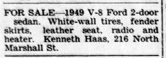 1957 - Ken Haas sells 49 Ford V8 sedan - Enquirer - 30 May 1957