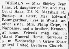 1953 - Shirley Haas obit - South Bend Tribune - 12 Oct 1953