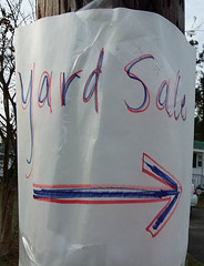 Yard Sale. (dccradio) Tags: lumberton nc northcarolina robesoncounty outdoor outside outdoors arrow sign words text yardsale yardsalesign pole utilitypole telephonepole garagesale handwritten thursday morning goodmorning thursdaymorning samsung galaxy smj727v j7v cellphone cellphonepicture photooftheday photo365 project365