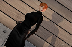 Black is the New Black (Hildda.Deveaue) Tags: secondlife fashion black blackleather sweater latexgloves cigarette redhair model chic pose