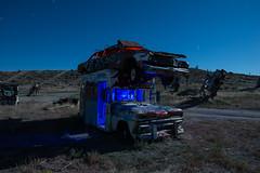 Piggyback Parking (Nocturnal Kansas) Tags: night nocturnal moon full led1 protomachines d800 nikon nevada goldfield forest car international church last nightphotography lightpainting longexposure
