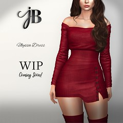 UlyssaDressWIP (Just BECAUSE_SL) Tags: giveaway free dress sweater miniskirt skirt off shoulder secondlife sl sexy cute buttons casual fashion virtual womens just because jb original mesh cozy long sleeve slit winner