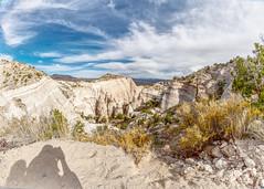 Tent Rocks: Fisheye with shadow (j.lowell.w) Tags: sky bluesky clouds shadow hdr desert highdesert southwest newmexico tentrocks fisheye nikon mountains rockformation