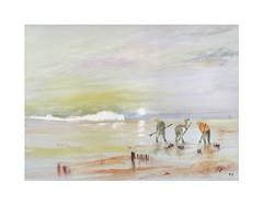 Les pêcheurs de coques de la côte d'Opale (Yvan LEMEUR) Tags: côtedopale rivage rivages mer sea sable plage falaises pêcheurs pêcheursdecoques aquarelle watercolour acuarela peinture maréebasse