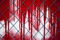 Derrière les grilles (Gerard Hermand) Tags: 1911071412 france paris canon romainville porte door metal peinture paint rouge red coulure dripping grille fence eos5dmarkii gerardhermand