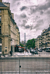 Eiffel Tower (Katrina Wright) Tags: france paris dsc5577edit eiffeltower toureiffel street pantheon moulds desaturated processed fence friday hff sliders sunday hss windows hww