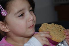 Loving Grandpa's cookies! (ineedathis, Everyday I get up, it's a great day!) Tags: chocolatechipcookies darkchocolate sweetbutter lightbrownsugar sugar purevanilla salt fresheggs cinnamon nikond80 granddaughter eleni baking cookies portrait