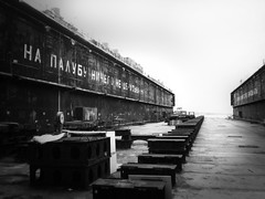 Deck (Missing Pictures) Tags: atmosphere atmospheric foggy fog darkness dark abandoned blackandwhite construction travel sea marina emptiness empty ship monochrome white bw black deck north