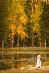 Angel Of The Fall (ESTjustPHOTO - Elias S Tilavgi) Tags: landscape autumn angel lagodiatorno lake travel dolomites atorno lady colors landscapephotography landscapes scenic autumncolors italy tyrol