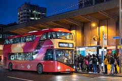 Blue Triangle LT950 (cybertect) Tags: barking carlzeissplanart50mmf14mm el3 eastlondontransit goaheadlondon lt950 ltz2150 london londonboroughofbarkinganddagenham londonbus newbusforlondon newroutemaster sonya7ii stationparade bus doubledecker dusk night england unitedkingdom