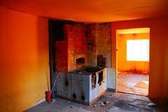 (Sameli) Tags: old abandoned house building room doorway orange light oven espoo suomi finland