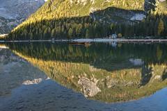 Alba (giannipiras555) Tags: lago riflessi chiesa natura alba colori landscape panorama paesaggio collina bosco nikon braies altoadige trentino barche montagna dolomiti