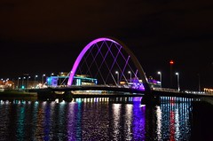 Squinty Bridge (Valantis Antoniades) Tags: clyde arc bridge night reflection river glasgow scotland modern architecture