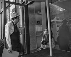 Chestnut Street, 2018 (Alan Barr) Tags: philadelphia 2018 waiter restaurant chestnutstreet street sp streetphotography streetphoto blackandwhite bw blackwhite mono monochrome candid city people panasonic gx85