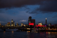 London Skyline : Dark and Stormy (Ms. Jen) Tags: 50mmlens embankmentbridge england london londonskyline nationaltheatre nikon50mmf14glens nikond850 november2019 photobyjeniferhanen southbank stpaulscathedral thamesriver theshard uk cloudporn latedusk msjencom stormclouds twilight