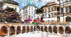 Old Baku. Azerbaijan (V_Dagaev) Tags: baku azerbaijan capital art architecture city town building house digital dynamicautopainter visualdelights landscape painterly painting painter paintingsfromphotos paint