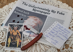 The Day Donald Trump Got President (@karel evenhuis) Tags: trump donaldtrump newspaper fakenews knife barbersknife tarot devil blood note 20february2017