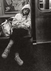 """MTA Subway Rider Taking A Snooze on The """"F"""" Train (nrhodesphotos(the_eye_of_the_moment)) Tags: dsc003563001084 wwwflickrcomphotostheeyeofthemoment theyeofthemoment21gmailcom ftrain manhattan streetscene blackandwhite younglady transportation reflections shadows napping shopper hoody autumn indoors boots sweatshirt resting perspective tile map nyc mta"""