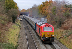 67004 - Wilnecote (Andrew Edkins) Tags: 67004 class67 67006 skip wilnecote canon geotagged travel ecs emptycoachingstock staffordshire england dbcargo severnvalleyrailway trees 5z66 carriages railwayphotography railtour diesel locomotive locohauled winter 2019 november