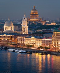 White night (roofsoldier) Tags: evening exterior petersburg religion season russia roof rooftop river architecture urban orthodox city cityscape cathedral postcard historic sunset church blue illumination isaac night saintpetersburg landscape above facade gold mirror reflection water