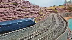 Hugging The Coast and Heading For London. (ManOfYorkshire) Tags: dawlish inspired britishrail warship diesel westernregion coast coastline tracks curved seaside spectacular views ngauge 1148 model railway train layout shoreham shorehambysea 2019 exhibition show scale
