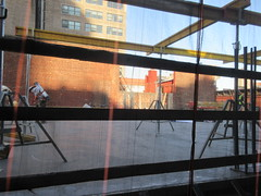 IMG_9920 (Brechtbug) Tags: sixth floor rising 350 352 now be building 2019 midtown manhattan 45th street near times square nyc 11152019 new york city cube architecture traffic transit car cars auto lots steel beams beam red brick wall green shed park brownstone 1920s apts apartment house apartments construction fence november working 6th