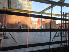 IMG_9919 (Brechtbug) Tags: sixth floor rising 350 352 now be building 2019 midtown manhattan 45th street near times square nyc 11152019 new york city cube architecture traffic transit car cars auto lots steel beams beam red brick wall green shed park brownstone 1920s apts apartment house apartments construction fence november working 6th